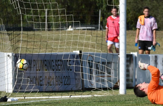 Brad Jardine lets in a goal